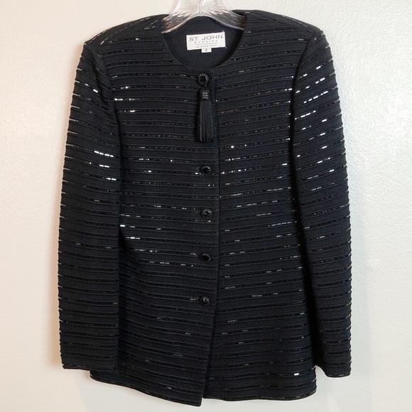 Vintage St. John Evening Jacket Black Sequin